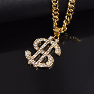 US Dollar Money Pendant Necklaces Luxury Gold Color Long Chain Necklace Men Women Accessories Necklace Shellhard Hip Hop Jewelry