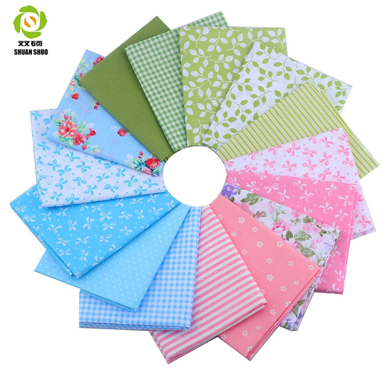 Shuanshuo Fat Quarters Bundles Fabric 15 Mixed Design Textiles For Pathcwork For Sewing Doll Cloth DIY Crafts  40*50 CM 15PCS/LO