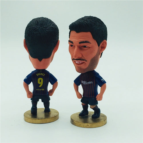 Soccerwe Soccer Star Figure BC 9 Luis Suarez Doll Red Blue Kit 2020