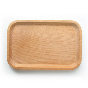 Solid Beech Wood Rectangular Dinner Plate Western Food Rectangular Round Corners Snack Dessert Serving Tray