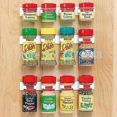 Spice Rack Storage Wall Rack 12 Cabinet Door Spice Clips Spice Rack Kitchen        3PCS/SET