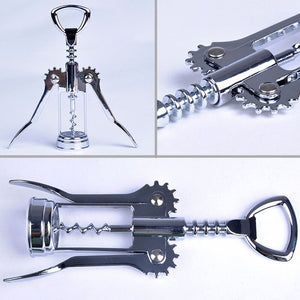 Stainless Steel Red Wine Opener  Metal Wine Corkscrew Bottle Opener Waiter Metal Wine Corkscrew Bottle Handle Opener Corkscrews