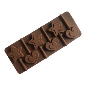 Star Love Heart Shape Silicone Lollipop Mold Sticks Silicone Form Molds For Chocolate Cake Decoration Candy Mold k119