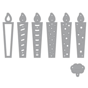 Swovo Birthday Candle label Metal Cutting Dies Stitched DIY Scrapbooking Stamps Craft Embossing Die Cut Making Stencil Template