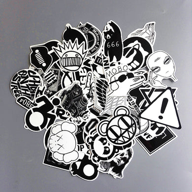 TD ZW 60pcs/lot Mixed Black And White Stickers Toy Styling DIY Vinyl Laptop Luggage Snowboard Phone Car Sticker Decal 2017 New