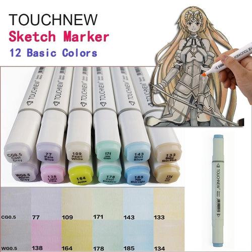 TOUCHNEW 12 Basic Colors Pastel Colors Serie Set Art Markers Dual Head Sketch Alcohol Based Marker Set Best For Drawing Manga