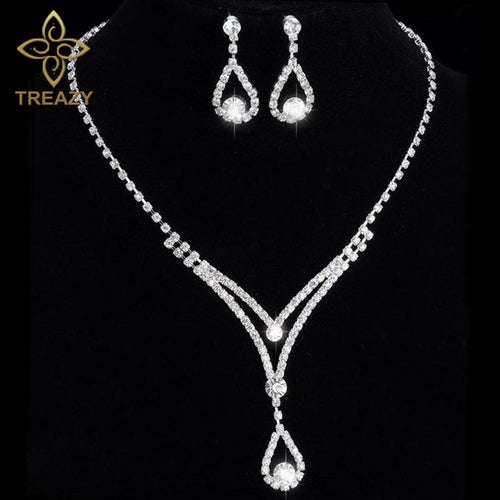 TREAZY Women Beautiful V Shape Teardrop Crystal Necklace Earrings Set Bridal Bridesmaid Wedding Jewelry Sets Night Party Show