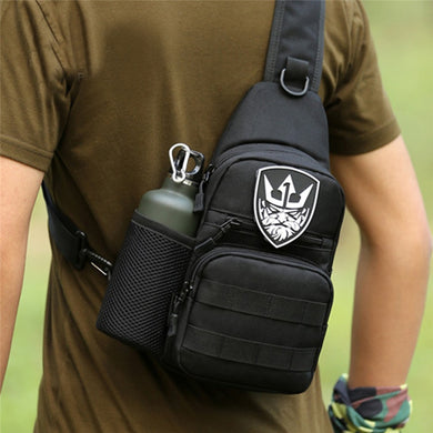 Tactical Shoulder Backpack Military Men's Crossbody Chest Bag Hiking Molle Sling Protable Bag With Bottle Mesh Holder