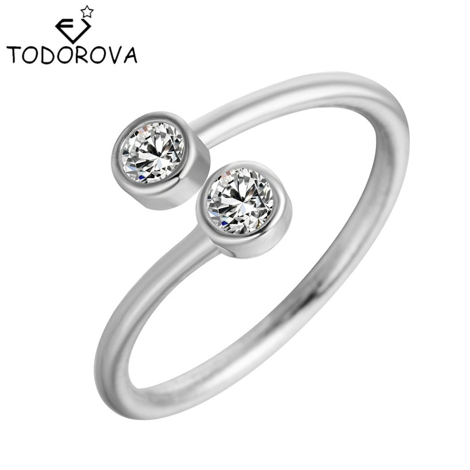 Todorova    Crystal Rings for Women Fine Jewelry Adjustable Double Round CZ Ring Open Midi Toe Engagement Rings