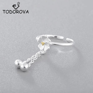 Todorova Beautiful Flower Rings for Women Adjustable Wedding Rings Cherry Blossoms with Bell Pendant Chain Tassel Finger Ring