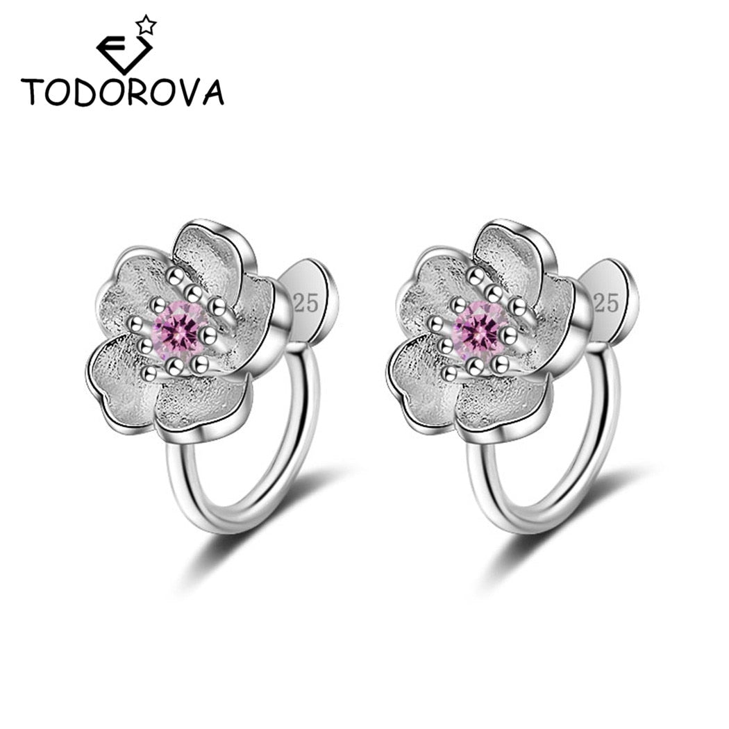Todorova Korea Style Crystal Cherry Blossom Flower Clip on Earrings Without Piercing for Girls Party Sweet No Hole Ear Clip