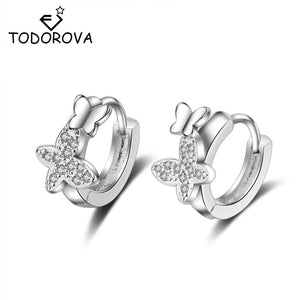Todorova  Double Butterfly Zircon Small Hoop Earrings for Baby Girls Cute Crystal Animal Loop Huggies Earring Jewelry