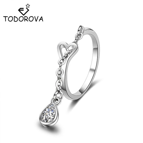 Todorova Women Water Drop Wedding Crystal Pendant Chain Rings Adjustable Cubic Zircon Ring Heartshaped Ring Jewelry