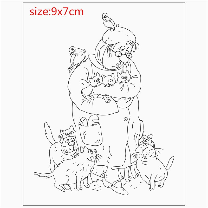 Transparent Clear Stamps DIY Silicone Seals Scrapbooking Card Making Photo Album Decoration old man or woman