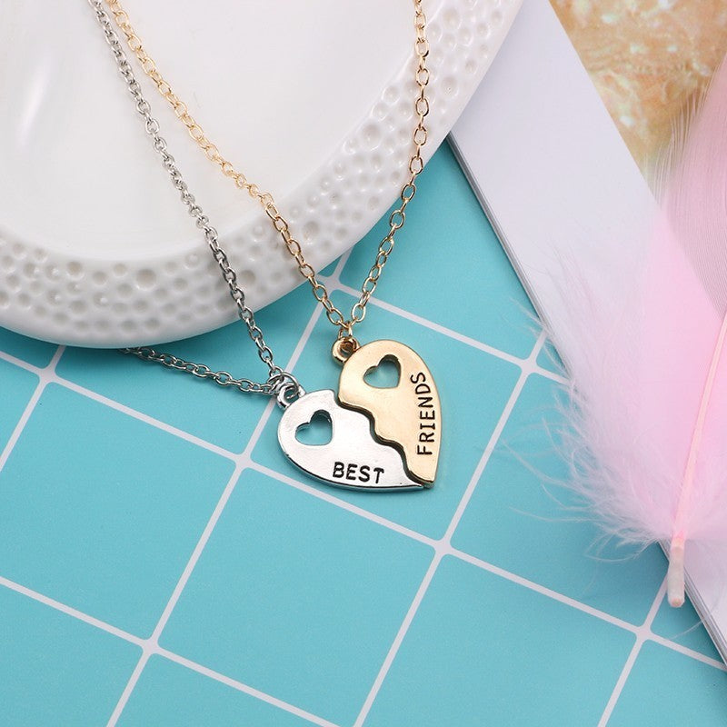 Trendy Best Friends Forever Necklace BFF Necklaces For Women Hollow Broken Love Heart Pendant Gold Silver Necklaces&Pendants