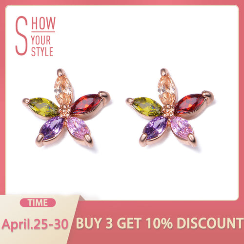 UMODE 5 pcs Marquise-cut Multicolored CZ Crystal Sun Flower Stud Earring Brincos Boucle D'oreille Earrings For Women UE0021