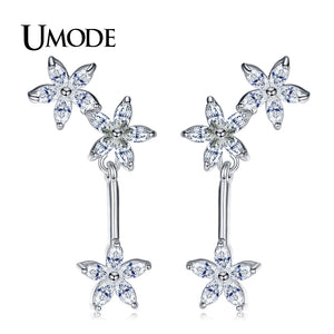 UMODE Fashion Flower Crystal Long Dangle Earrings for Women Female Floral Chandelier CZ Jewelry pendientes mujer moda UE0367