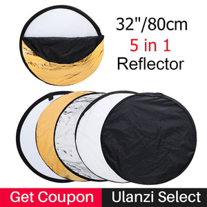 "Ulanzi 80cm 32"" Round Photography Reflector 5 in 1 Collapsible Multi-Disc Studio Light Reflector with Zipped Round Carrying Bag"
