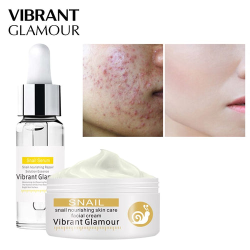 VIBRANT GLAMOUR Snail Repair Serum Face Cream Care Set Snail 100% Plant Extract Hyaluronic Acid Whitening Blemish Mosturizing
