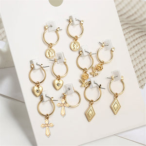 VIVILADY Fashion 5pairs Circle Round Hoop Earrings Women Gold Color Heart Queen Rose Crystal Hiphop Brincos Boho Jewelry Gifts