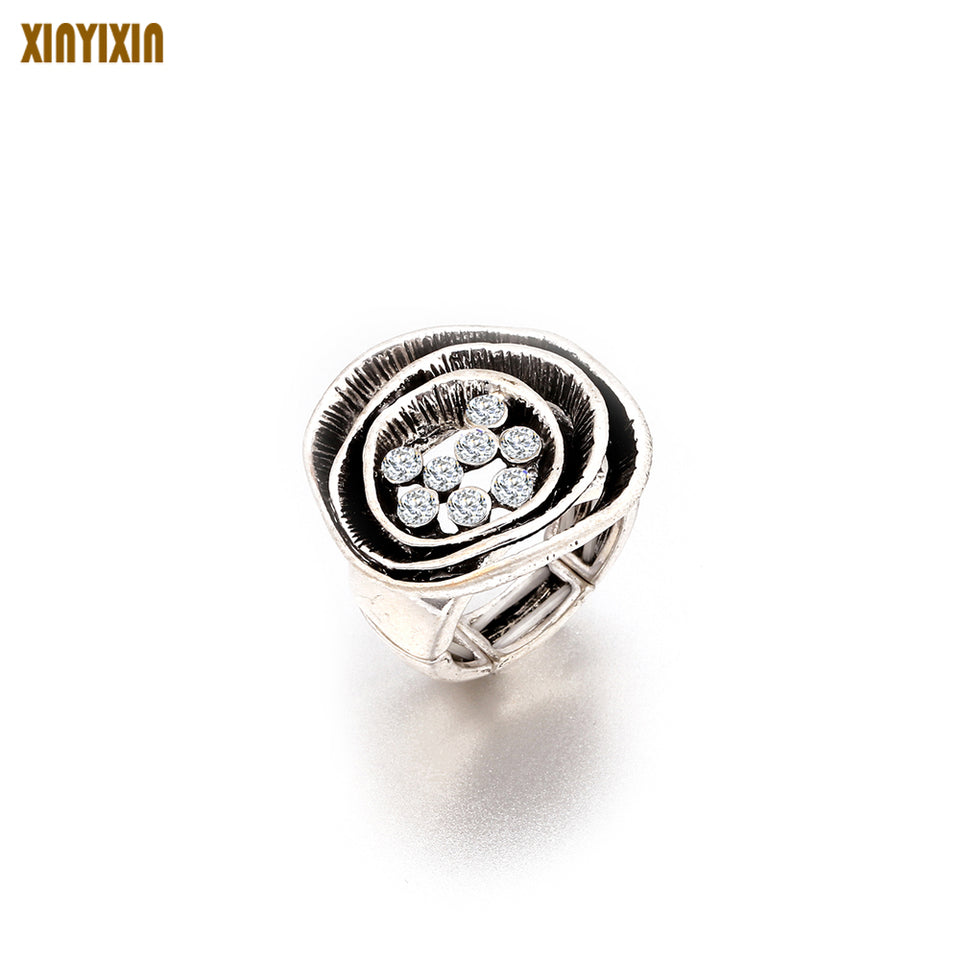 Vintage Ancient Silver Ring for Women Charm Adjustable Shining Crystal Flower Ring High Quality Anniversary Wedding Ring Jewelry