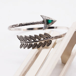 Vintage Feather Arrow Open Bangle Shellhard Adjustable Bohemian Ethnic Upper Arm Bracelet Arm Cuff Bangles Fashion Women Jewelry