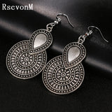 Vintage Silver Color Big Flower Drop Earrings for Women  Ethnic Jewelry Punk Earring Jewelry drop earrings jewelry earrings