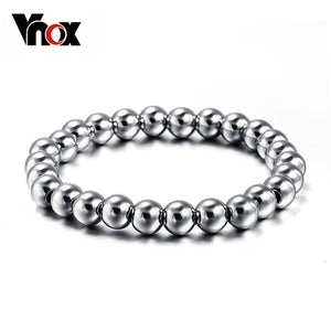 Vnox Never fade stainless steel bracelet bangle for men and women unisex bead ball jewelry