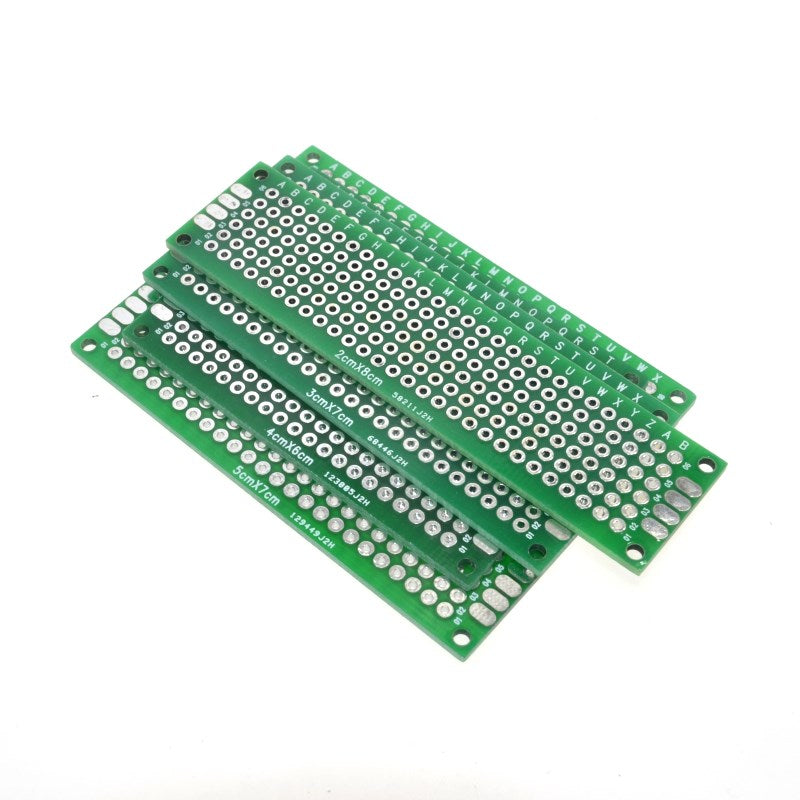 WAVGAT  4PCS 5x7 4x6 3x7 2x8cm double Side Copper prototype pcb Universal Board Fiberglass board for Arduino