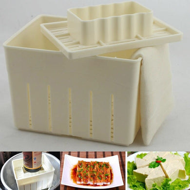WHISM DIY Plastic Tofu Press Mould Homemade Tofu Mold Soybean Curd Tofu Making Mold with Cheese Cloth Kitchen Cooking Tool Set