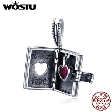 WOSTU Authentic 925 Sterling Silver Forever Love Letter Dangles Charms Fit Bracelet & Necklace Pendant Romantic Jewelry CQC980