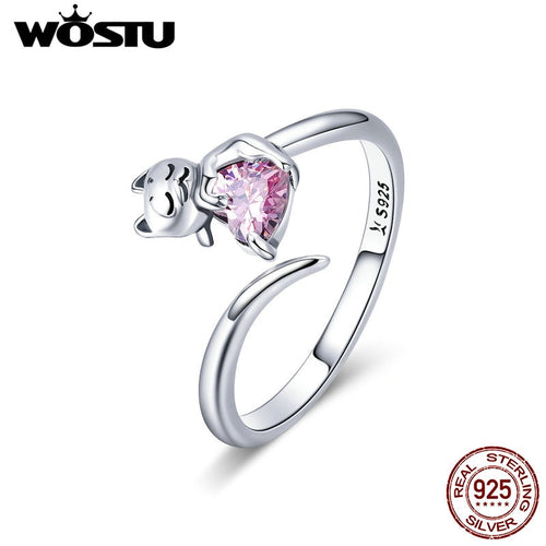 WOSTU Genuine 925 Sterling Silver Cute Adorable Cat Pet Love Finger Rings For Women Girl Party Ring Anel Jewelry Gift CQR446