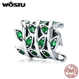 WOSTU Spring Style 100% 925 Sterling Silver Green Tree Leaves Beads fit Original Charm Bracelet Bangle DIY Jewelry CQC567