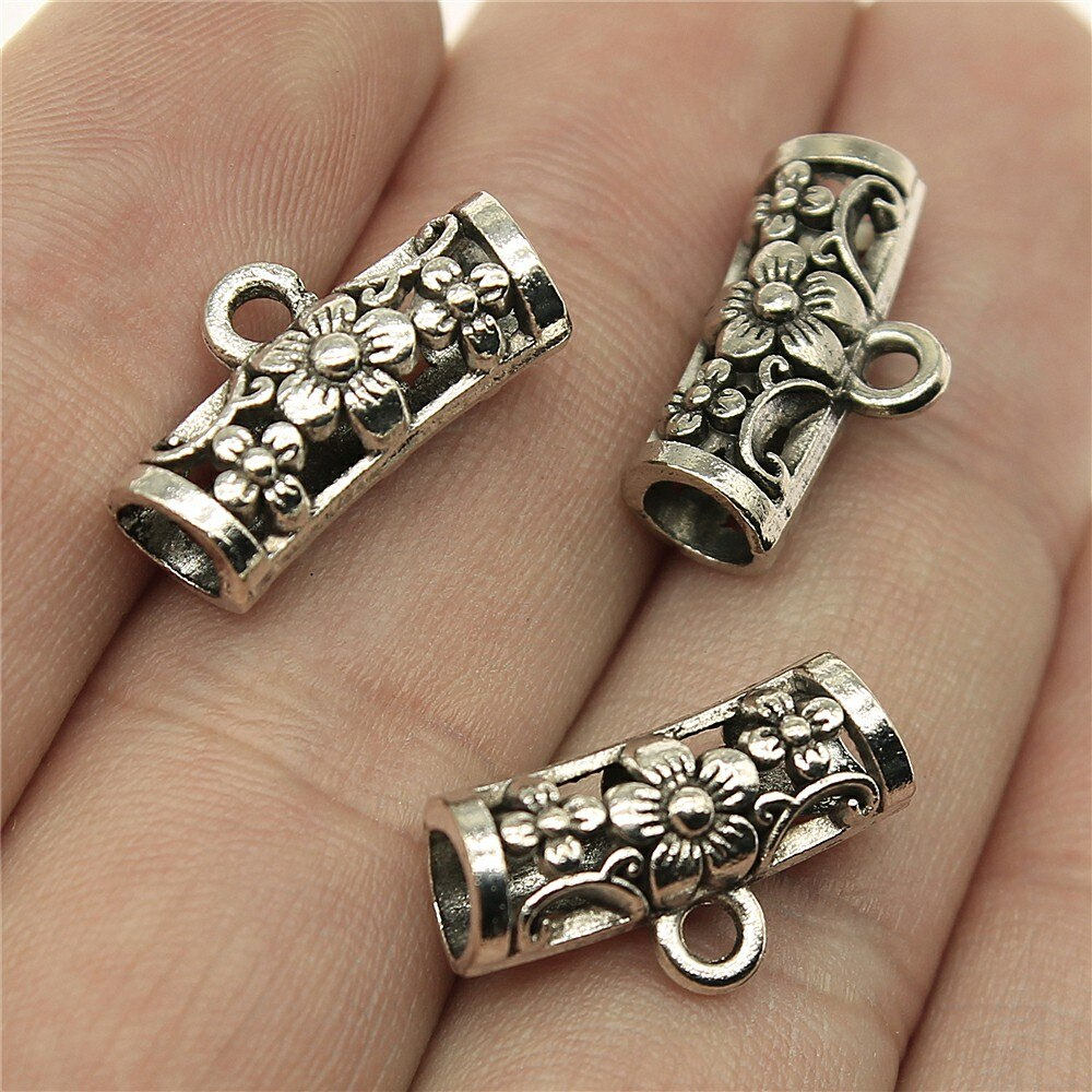 WYSIWYG 12pcs 19x10x7mm Tibetan Silver Bail Beads For Jewelry Making DIY Antique Silver Flower Beads Bails Charms