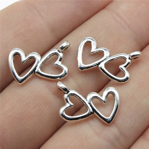 WYSIWYG 20pcs 18x16mm Double Hearts Hollow Charms Double Hollow Heart Charms Double Hearts Charms