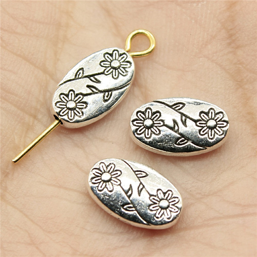 WYSIWYG 30pcs 10x6x3mm Flower Charms Beads Antique Silver Color Oval Flower Charms Beads Flower Oval Small Hole Spacers Beads