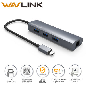 Wavlink USB C 3.1 to Gigabit Adapter Series 3-Port USB 3.0 Aluminum Hub With Type C Adapter+RJ45 Gigabit Ethern LAN Port-Gray