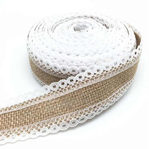 Wedding Decoration 5M/Roll White Lace Trim Linen Jute Burlap Ribbons Rustic Home Wedding Party Table Runner Craft Ribbon AA8086