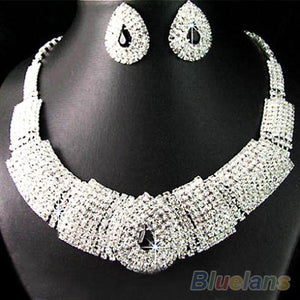 Wedding Party Bridal Black Diamante Crystal Necklace Earrings Set Jewelry Prom  00C1