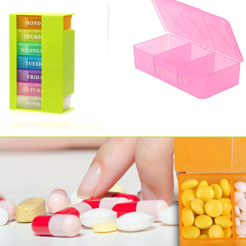 Weekly 7 Days Colorful Pill Box Medicine Storage Organizer Holder 21Slot Drugs Capsule Medicine Splitter Storage Holder Pill Box