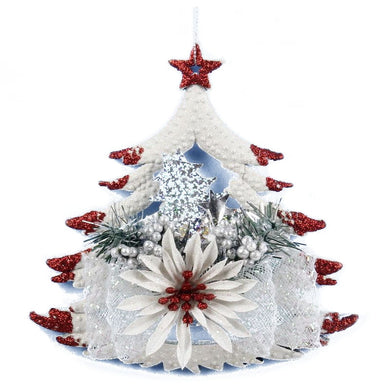 White Christmas Home Door Window Ornaments Christmas Decoration Xmas Tree Hanging Decor, The five-pointed star on the tree