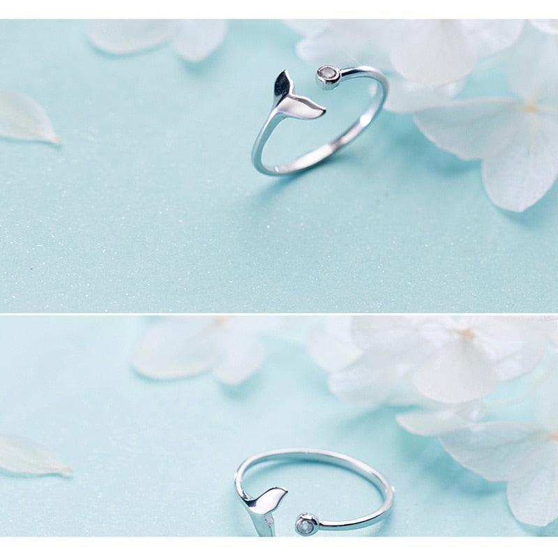 White Cubic Zircon Fish Adjustable Silver Ring Fairy Tale Dream Rings for Woman Fashion Jewelry Engagement Ring for Female