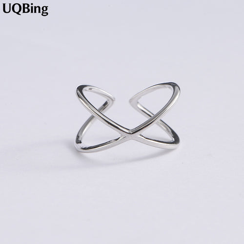 100% 925 Sterling Silver X Shape Cross Ring Women Jewelry 2019