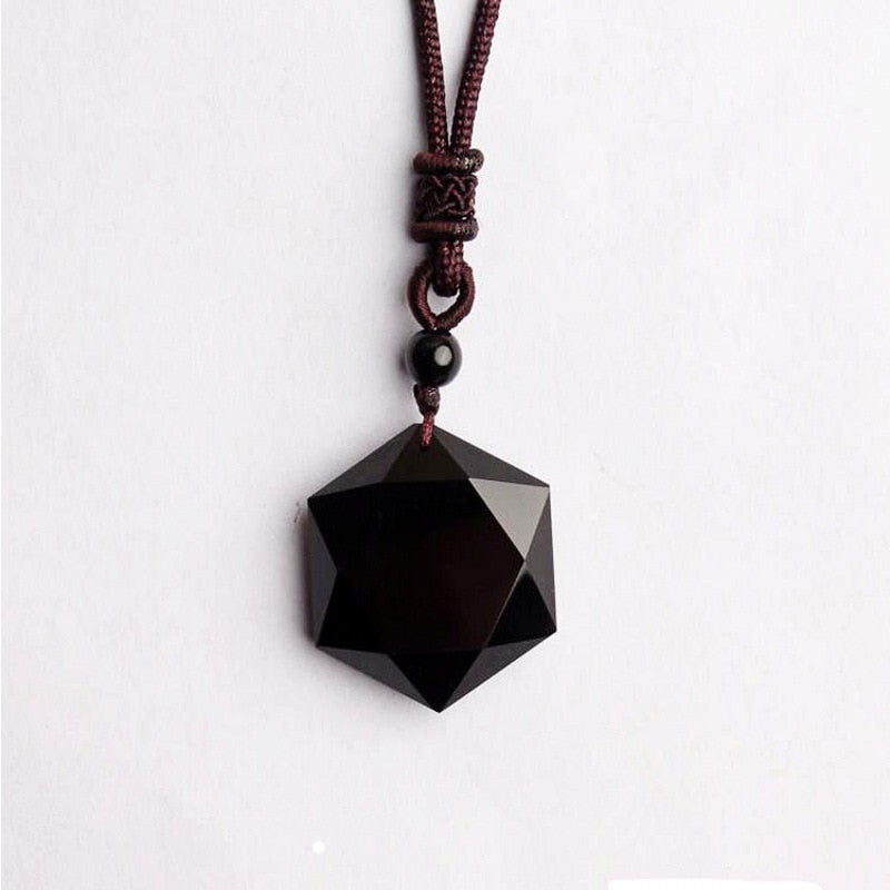 Genuine Natural Obsidian Stone Pendants Six Stars Pendant Energy Stone Necklace Sweater Chain Fashion Jewelry
