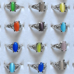 Mix lot 15pcs Cat Eye Stone Ring Fashion Charming Wedding Rings Women Jewelry Accessories