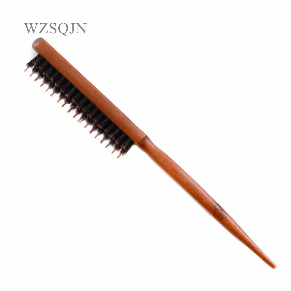 Wood Handle Hair Brush Natural Boar Fluffy Bristle Anti Loss Comb Hairdressing Barber Tool Teasing Bristle Salon Hairbrush