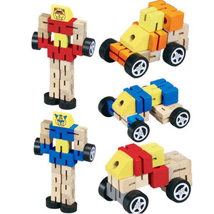 Wooden Transformation Robot Building Blocks Kids Toys for Children Educational Learning Intelligence Gifts WJ479