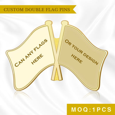 World Any Two Countries And Areas Crossed Double Friendship Flags Lapel Pins