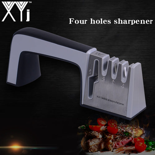XYj Steel Knife Sharpener 4 in 1 Diamond Coated&Fine Ceramic Rod Knife Shears Scissors Sharpening System Stainless Steel Blade