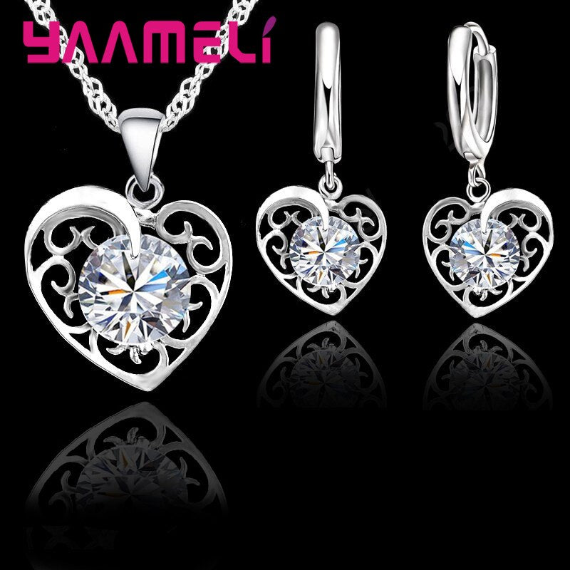 Romantic Heart Jewelry Set For Women  925 Sterling Silver Wedding Pendant Necklace Charm Hoop Earring Elegant Party Gift